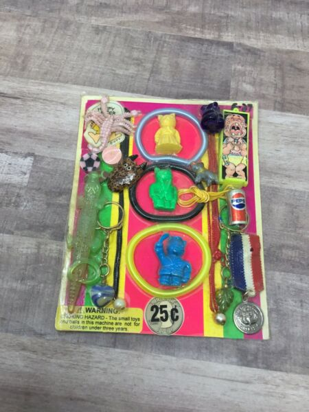 Plastic Toy and Charm Assortment Gumball Vintage Vending Display Card #EZ $29.99