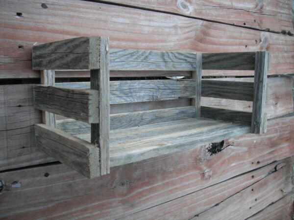 Country Cottage Wood Shelf Crate Farmhouse Distressed Rustic Weathered 16quot; Long