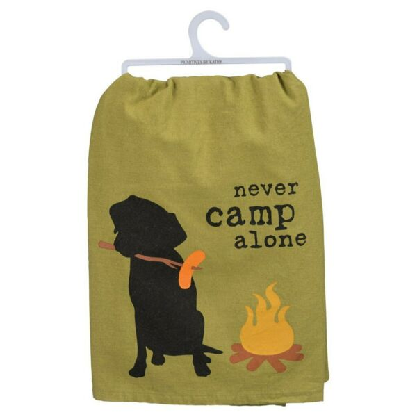NEW Dog is Good Primitives by Kathy Never Camp Alone Black Lab Dog Dish Towel $9.49