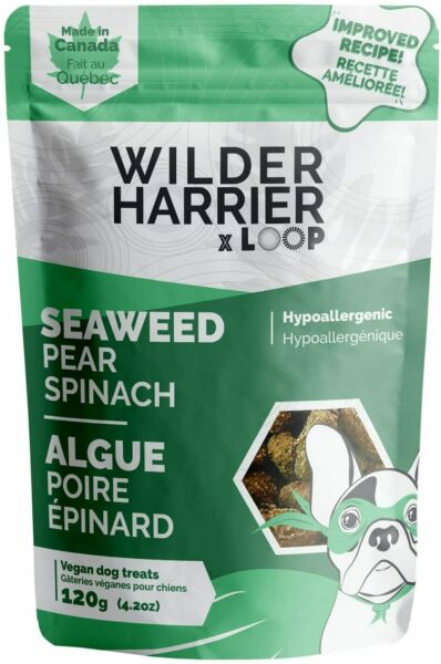 Wilder Harrier Vegan Dog Treats Seaweed Pear Spinach Case of 6 Pouches C $19.44