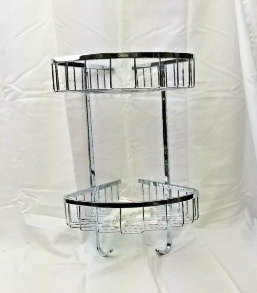 CVBAB Bathroom Accessory Triangular 2 Tier Wall Mounted Chrome Supply Shelf