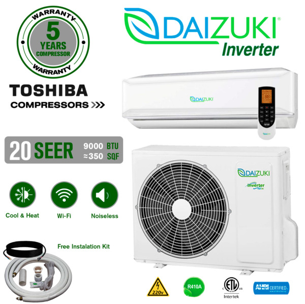 9000 BTU Air Conditioner Mini Split 19 SEER INVERTER AC Ductless Heat Pump 220V $554.99