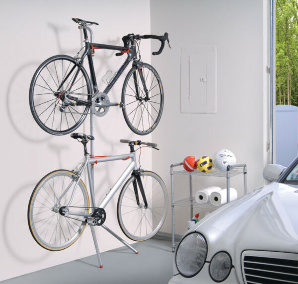 Bike Rack Garage Wall Gravity 2 Bicycle Silver Powder Coated Indoor Holder $54.38