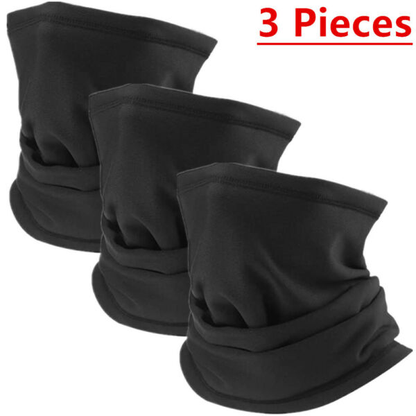 3 Pcs Multi use Tube Scarf Bandana Head Face Mask Neck Gaiter Head Wear Black