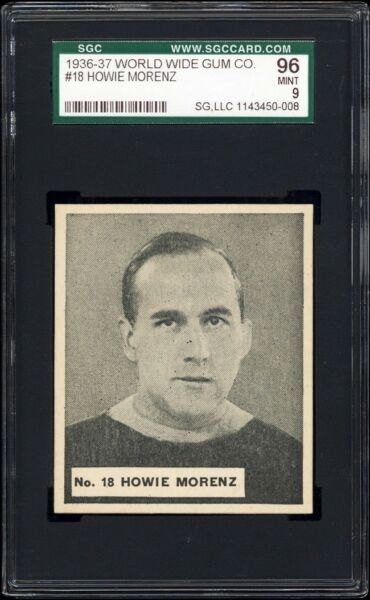 1937 V356 World Wide Gum #18 Howie Morenz (HOF Montreal Canadiens) SGC 96 MINT