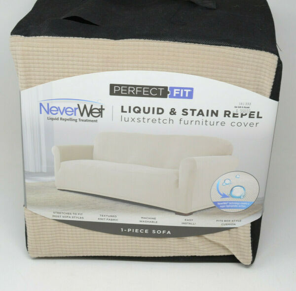Perfect Fit NeverWet Luxury Sofa Slipcover Beige Liquid amp; Stain Repel Stretch $29.99