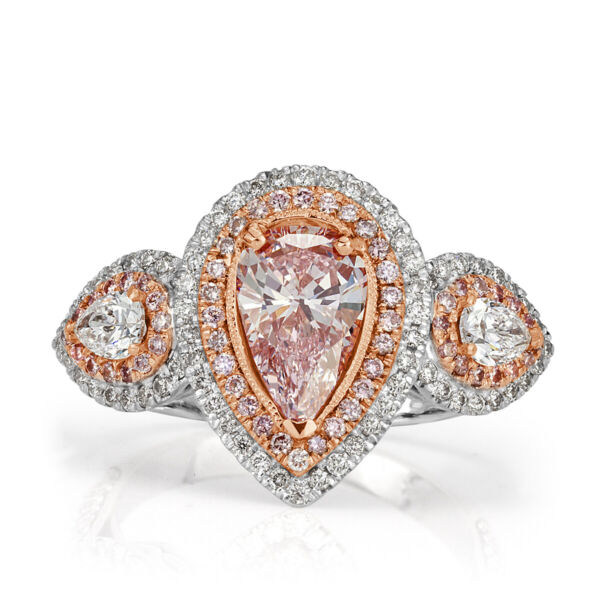Mark Broumand 2.55ct Fancy Light Pink Pear Shaped Diamond Engagement Ring
