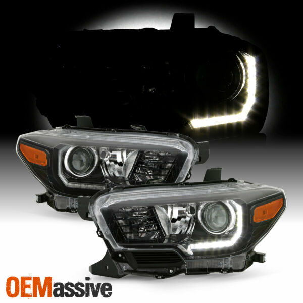 For 16-20 Toyota Tacoma TRD/Limited w/ LED DRL Projector Black Headlights Pair
