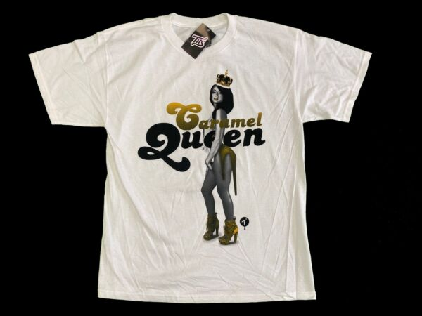 TWO IN THE SHIRT T.I.T.S. Shirt Sexy Girl Carmel Queen White Men's Sz L