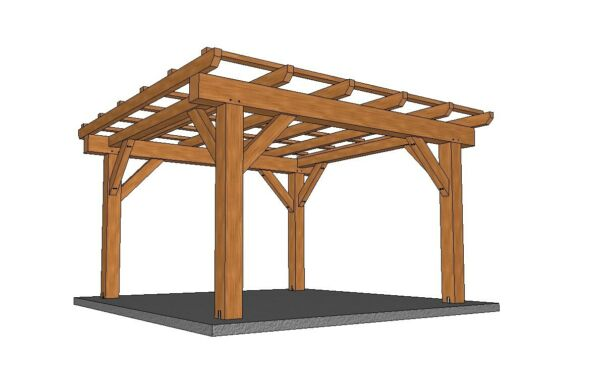12' x 12' Timber Frame Pergola DIY Building Plans Downloadable PDF