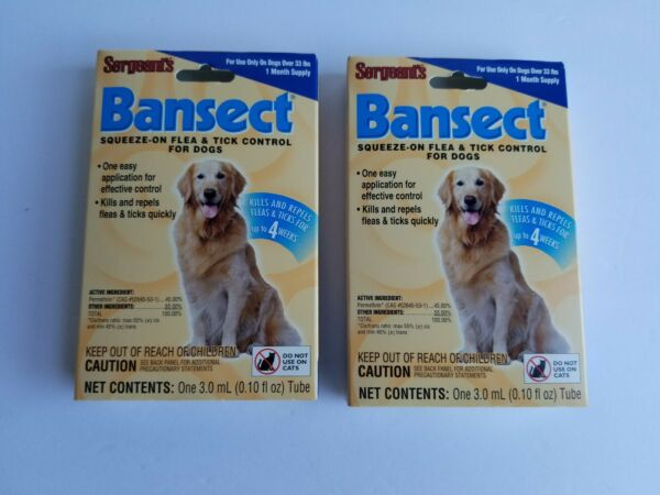 Flea & Tick Control Treatment Medicine For Dogs Sergeants Bansect (2 Packs) $9.95