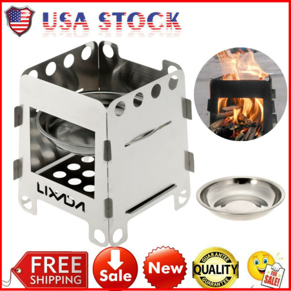 Stainless Steel Folding Wood Stove Pocket Cooking Outdoor Burning Camping Picnic $11.52
