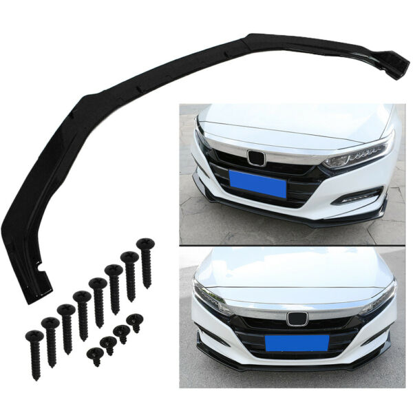FITS 2018 2020 HONDA ACCORD JDM 3PC STYLE GLOSSY BLACK FRONT BUMPER LIP SPLITTER