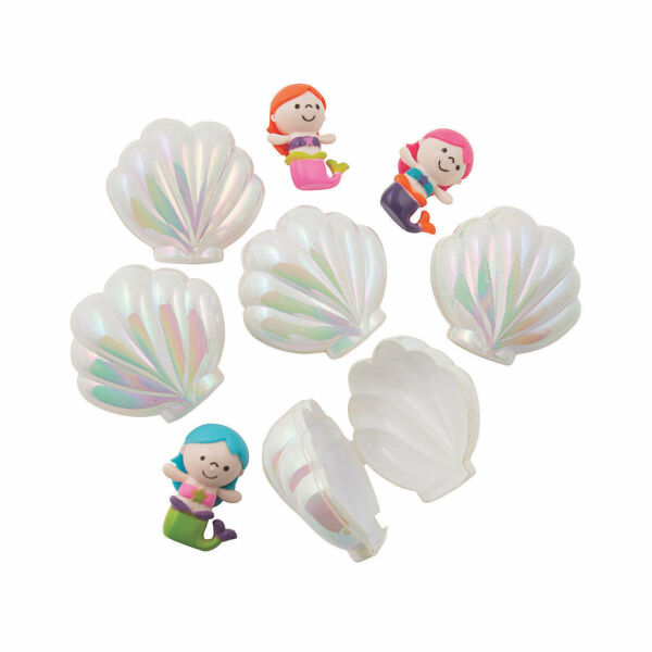 Iridescent Sea Shell Toy-Filled Plastic Easter Eggs - 12 Pc. - Party Supplies -