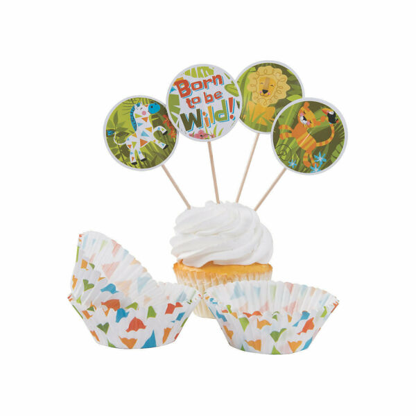 Jungle Baby Cupcake Wrappers With Picks Party Supplies 100 Pieces