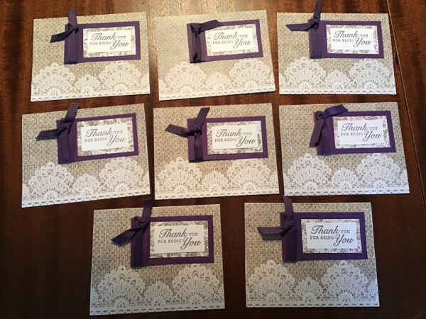 Lot 10 Handmade Stamped Greeting Cards Thank You For Being You Burlap amp; Purple