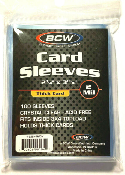 100 BCW THICK SOFT SLEEVES Ultra Clear Plastic -BASEBALL NBA MLB NFL
