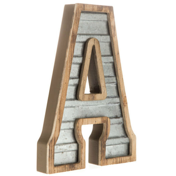 Large Wood amp; Galvanized Metal Rustic Industrial Letters A Z Home Decor