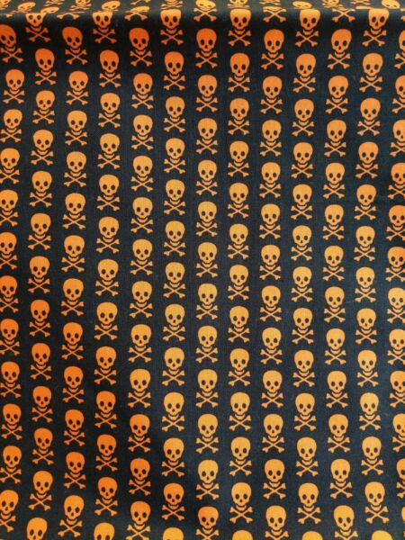 LAST PIECE Halloween Skulls COTTON PUL Full Yard  - good for wet bags