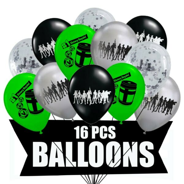 Fortnite Balloons 16pc Gaming Birthday Party Supplies Favors Gamer Decorations