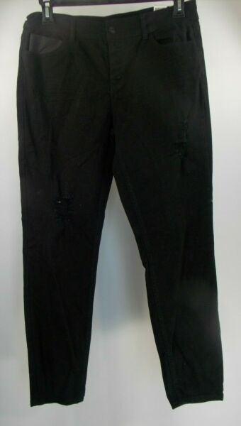 JOE BOXER Button Fly Women's Manufactured Distressed Black Pants size 13 NWT