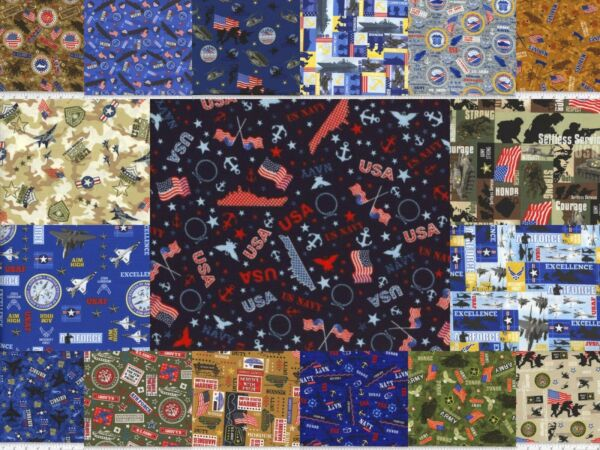 100% Cotton Fabric Military & Patriotic Variety of Choices by the Yard