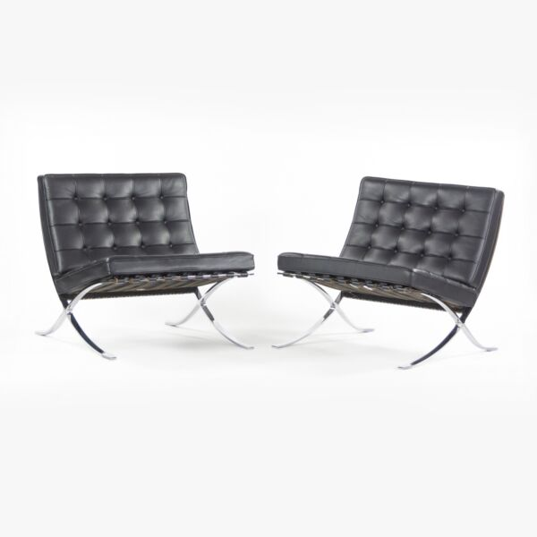 2010's Pair Original Mies Van Der Rohe Knoll Studio Barcelona Chairs Black Volo