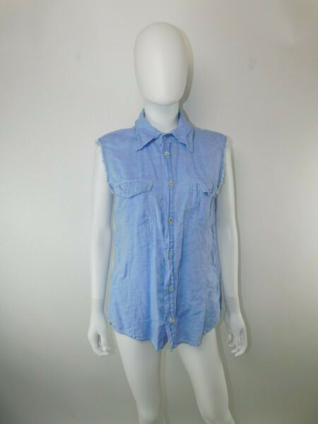 Dsquared2 50 Large Blue Linen Cotton Sleeveless Distressed Posable Collar Top $44.99