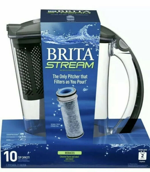 Brita Water Filter Pitcher 10 Cup Purifier • Filter as You Pour • Stream • Gray