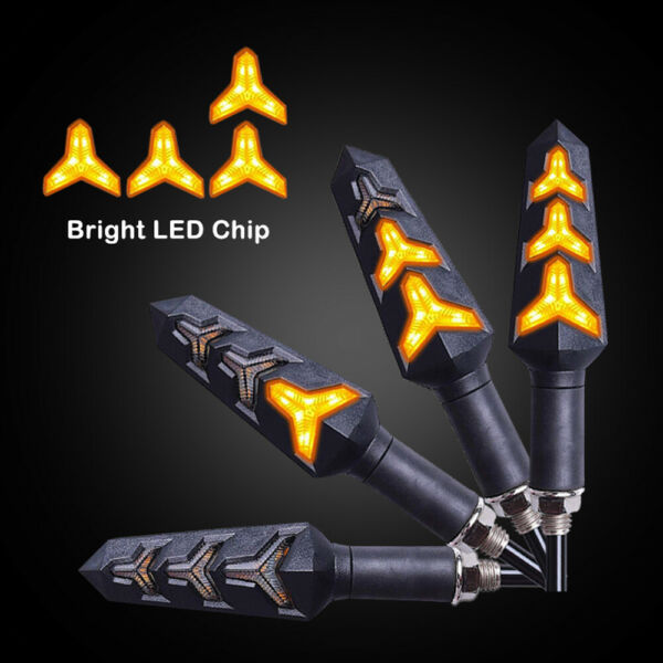 2X Sequential Motorcycle LED Turn Signals Flowing Water Blinker Lights Iidicator