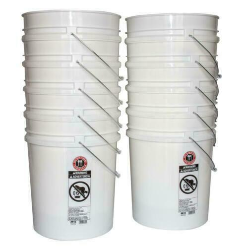 10 PACK 5 Gallon Bucket Pail Heavy Duty Tools Container Storage Commercial White