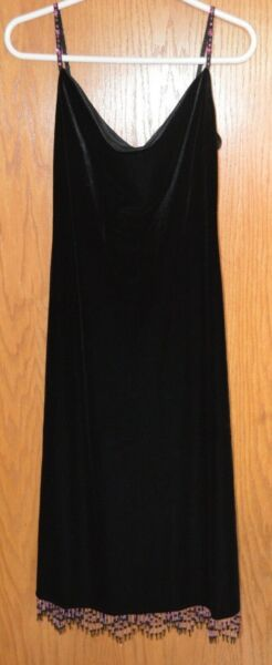 Vintage Betsey Johnson black velvet dress purple bugle bead hem trim medium