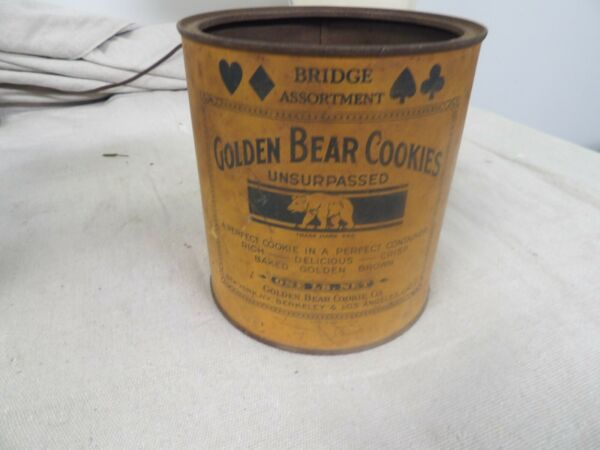 Vintage Golden Bear Cookies Tin Can from the 1930's