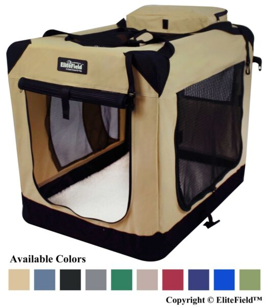 EliteField 3-door Soft Folding Dog Crate + FREE Crate Mat & Carrying Bag 5 Sizes $42.99