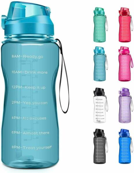Motivational Water Bottle 2.2L64oz Half Gallon Jug with Straw &Time Tracker New