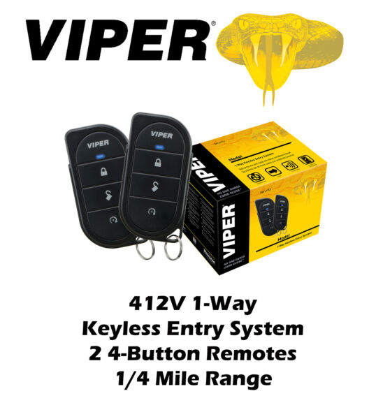 Viper 1 Way Keyless Entry System 211HV 1 4 Mile Range 3 Channel 2 Remotes 412V