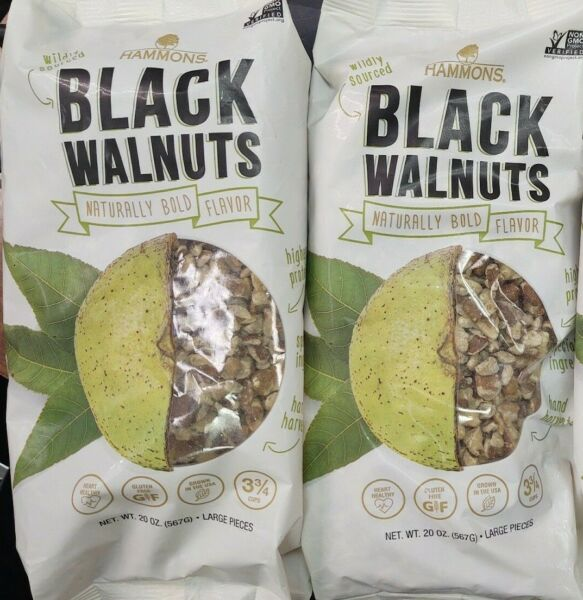 Hammons Black Walnuts Fancy Large Pieces 20 oz Lot of 2 Bags FREE SHIPPING $36.99