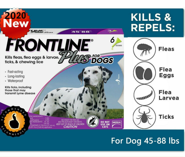 6 Doses - Frontline Plus for Dogs (45-88 lbs) Flea and Tick Treatment Control $34.00