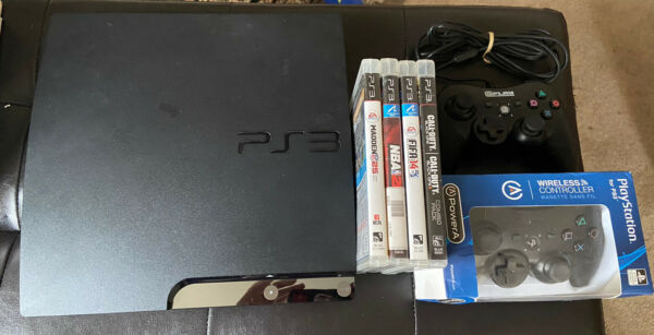 Sony Ps3 Slim 150gb Console Playstation 3 W 4 Games & 2 Controllers All Cords