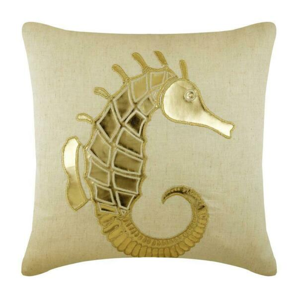 Designer Linen Couch Pillowcase 16x16 inch Beige Leather Gold Sea Horse $57.97