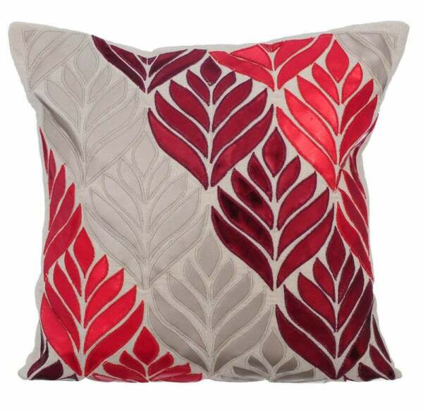 Decorative 16x16 inch Linen Couch Throw Pillow Beige Leaf Cherry Maple $56.83