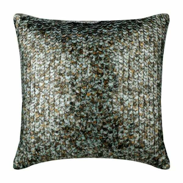 Silver Couch Pillow Cover Decorative 22x22 inch Silk Scales Antique Scales