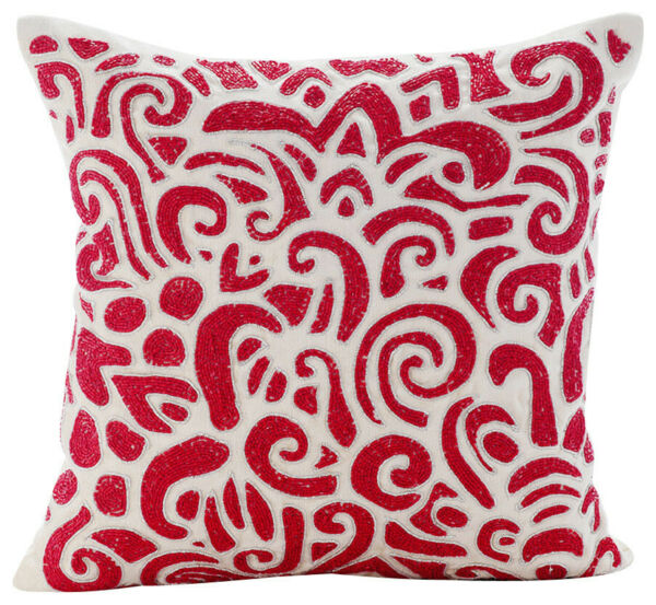 Linen Couch Cushion Cover 22quot;x22quot; Decorative Red Bead Articulate Abstract $75.38