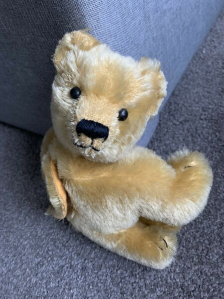 "Unique Rare Darling antique golden mohair teddy bear 8"" Purse Bag WHandle NICE"