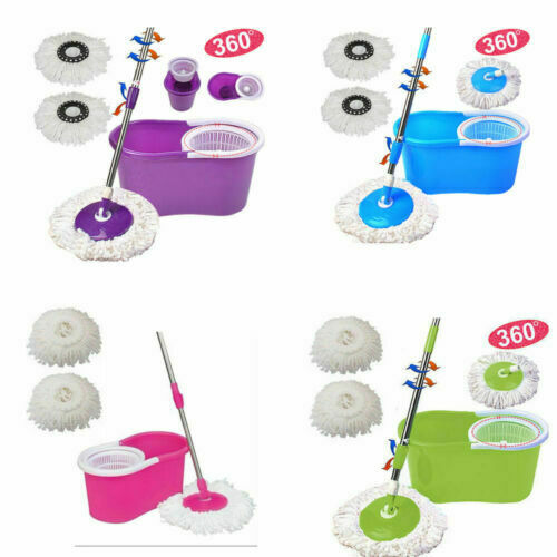 360° Spin Mop with Bucket Set Dual Heads Floor Cleaning System Home Clean Tools