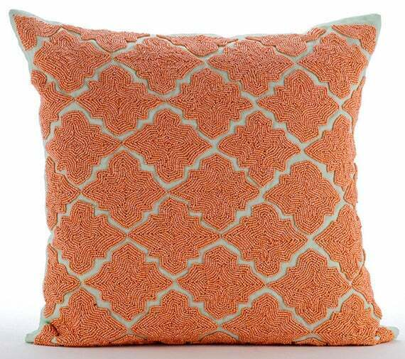 Designer Linen Couch Pillow Cover 18x18 inch Orange Lattice Orange Medallion $79.79