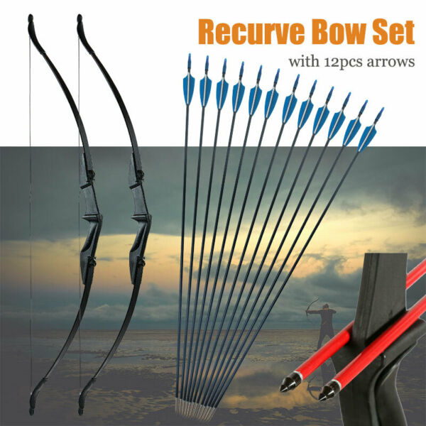 57 inch Takedown Recurve Bow Hunting amp; 12PCS Arrows Set Archery Right Left Hand