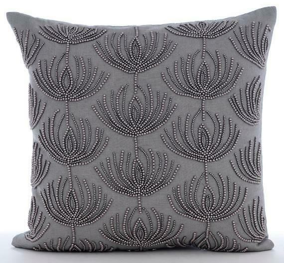 Linen Couch Pillowcase 18quot;x18quot; Handmade Grey Lotus Pearl Harvest $57.90