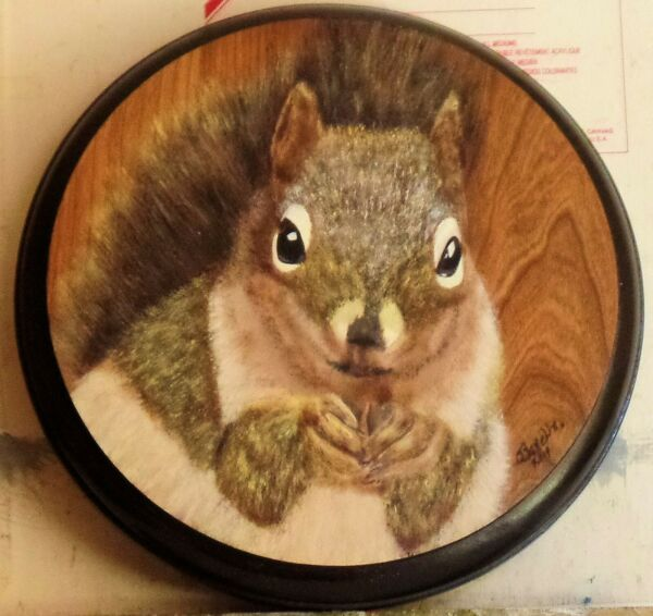 Sweet Squirrel on round wood in oils by artist Orphie Barella no frame needed $43.95