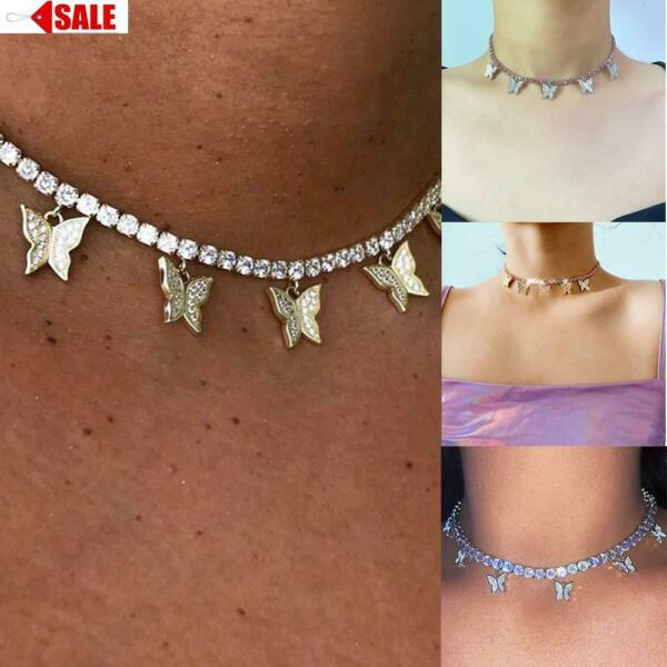 Diamante Choker Crystal Butterfly Women Rhinestone 925 Silver Necklace Diamond